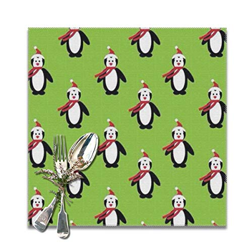 (Oh-bfcs Skating Penguins Heat-Resistant Placemats Stain Resistant Anti-Skid Washable Polyester Table Mats (6pcs Placemats))