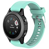 XIHAMA for Garmin Fenix 5X Silicone Band, 26mm Silicagel QuickFit Replacement Band Strap Sport Strap Band Fitness Wristband Barcelet with Holes Breathable for Garmin Fenix 5X GPS (Teal-green)