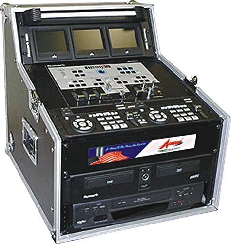 Case and Work Station For CD Equipment and Controllers- Slanted Mixer Design - 6 Space Storage - Removable Top - Pro ATA 15U by GMI Pro (Shock Mount Rack Case)