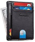 (US) Travelambo RFID Front Pocket Minimalist Slim Wallet Genuine Leather Small Size (Stark Black)