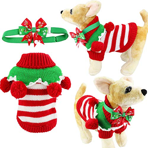 - Aiwind Adorable Cute Striped Festive Holiday Christmas Pet Dog Cat Sweater with Balls Collar and Adjustable Bow Tie Collar or Headband (XXS, Red and White Stripes)