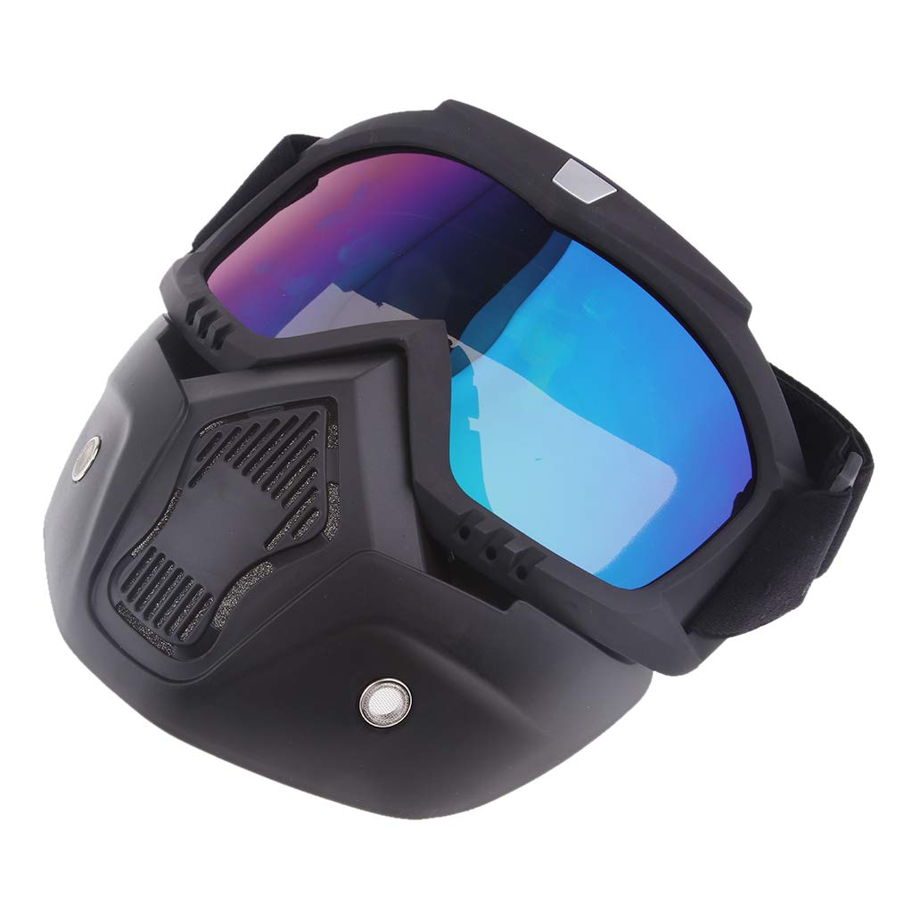 Homyl Motorcycle Motocross Helmet Riding Detachable Modular Face Mask Shield Goggles Eyewear