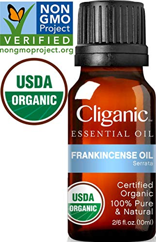 Cliganic USDA Organic Frankincense Essential Oil - Boswellia Serrata, 100% Pure Natural Undiluted, Therapeutic Grade for Aromatherapy | Premium Certified Organic, Non-GMO (Best Use For Essential Oils)
