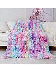Deken, 2020 nieuwste regenboog kleuren PV langharige pluizige deken, extra zacht & warm microvezel imitatiebont fleece deken geschikt voor bank of bed (160x200cm)