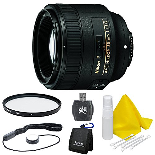 Nikon 85mm f/1.8G AF-S NIKKOR Lens for Nikon Digital SLR Cameras Bundle w/ 67mm UV Protective Filter, Lens Cap Keeper & Cleaning Kit, SD Card Wallet & HiSpeed SD USB Card Reader