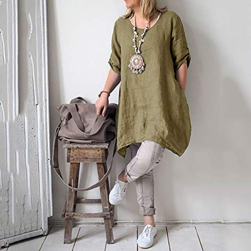 Alangbudu Women's Half Sleeve Tunic Dress V Neck Loose Swing Shift Linen Dresses Green by Alangbudu-Dresses (Image #7)