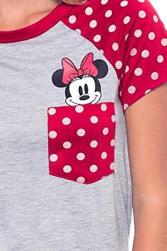 Disney Junior Fashion contraste hombro bolsillo Minnie superior, Gris con rojo gris gris gris