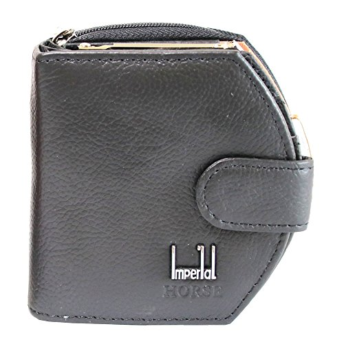 (Female girl black leather wallet, Short Clutch bag wallet, mini zip handbag purse (Black))
