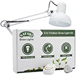 Safari 28W LED Grow Light Kit for Indoor Plants with Flexible Lamp Holder & Clamp for Growing Basil, Tomato, Marijuana Seeds & other Vegetables, Hydroponic Greenhouse Gardening, Seedling Tent Lighting