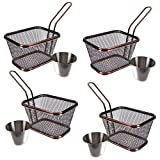 DKST Kitchen 4 x Fried Food Serving Baskets Includes 4 Quality Stainless Steel Ramekins Presentation Baskets Ideal for Chips, Fries, Onion Rings & more... Coolest Mini Chip Serving & Presentation Set