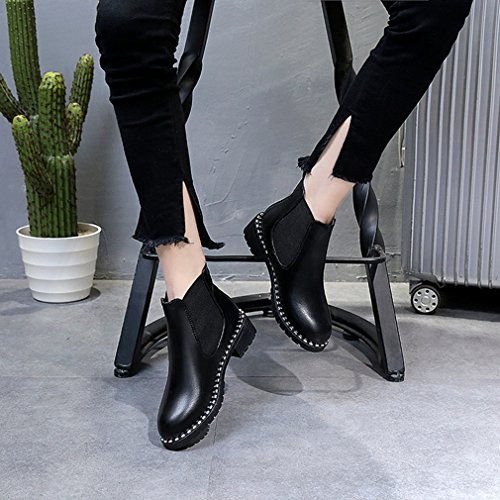 Womens Autumn Winter Short Boots - Flat Heel Studded Rivets Flat Heel Slip On Black Bootie