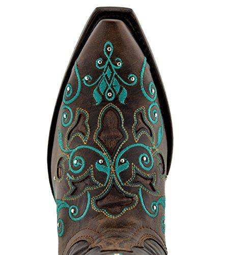 Cowboy Professional Mujeres Brown Rhinestones Bordados Incrustaciones Cowgirl Western Botas Snip Toe Brown