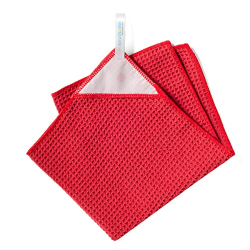 KMN Home Magnetic Microfiber Kitchen Towel, Waffle Weave Dish Towel with Magnetic Towel Holder, Red