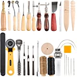 Leathercraft Tool, Benbo 37PCS DIY Leather Hand Stitching Tool Kit for Sewing Leather, Canvas