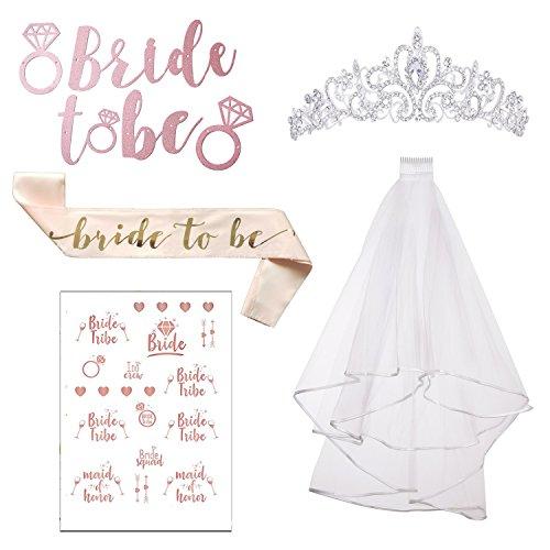 Emango Rose Gold Pink Bachelorette Party Bride To Be Decorations Kit-Bridal Shower Supplies   Sash For Bride, Rose Gold Pink Pre-Strung Banner, Rhinestone Tiara, Veil + Bride Tribe Flash