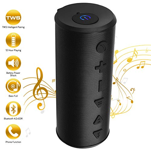 (TWS Bluetooth Speaker, Portable Wireless Speaker with Bluetooth Bass for i Phone X/8/7/6 i Pad Laptop, 20W Big Magicbox Loud Speakers Stereo with Built-in Mic, 12 Hours Play time for Home, Party)