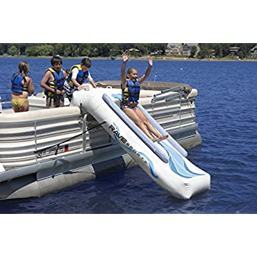 Rave Sports 9-Foot Inflatable Lake Pontoon Water Slide with Air Pump (00001-RV)