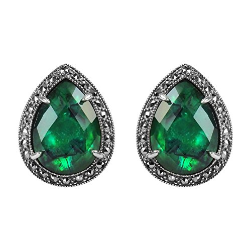 Aura 925 Sterling Silver Earring Crystal Green Abalone Doublet
