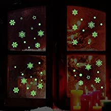 Aomon Snowflake Window Clings Decal Glow in Dark for Christmas(5 Sheets)