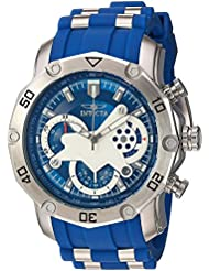 Invicta Mens Pro Diver Quartz Stainless Steel and Silicone Casual Watch, Color:Blue (Model: 22796)