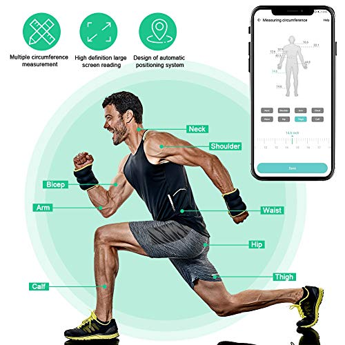 VOLADOR Smart Body Tape Measure with APP, Bluetooth Measuring Tape for Body Circumference, Fitness, Bodybuilding, Weight Loss, Muscle Gain, with LCD Display, Retractable Button