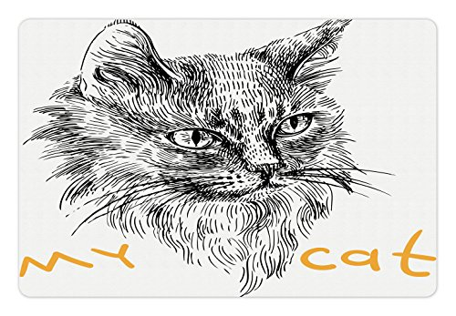 Ambesonne Animal Pet Mat for Food and Water, Ink Sketch Hand Drawn Illustration of Cute Cat Portrait Pattern Artwork, Rectangle Non-Slip Rubber Mat for Dogs and Cats, Mustard Black and White