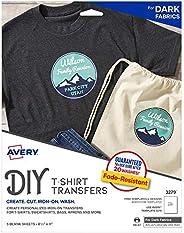 "Avery Printable Heat Transfer Paper for Dark Fabrics, 8.5"" x 11"", Inkjet Printer, 5 Iron On Transf"