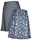 4 liter soda - Green 3 Novelty Reversible Skirt - Womens Recycled Skirt, Made in The USA (Birds & Crosshatch, Large)