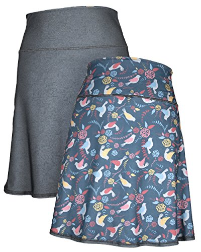 (Green 3 Novelty Reversible Skirt - Womens Recycled Skirt, Made in The USA (Birds & Crosshatch, X-Large))