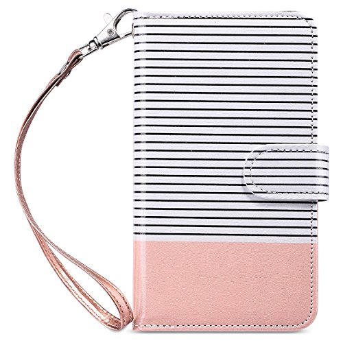 ULAK Galaxy S6 Case, Samsung Galaxy S6 Wallet Case, Wallet Flip Case PU Leather Case Shockproof Soft TPU Inner Bumper Slim Protective Card Slots Wrist Strap Cover- Minimal Stripes/Rose Gold