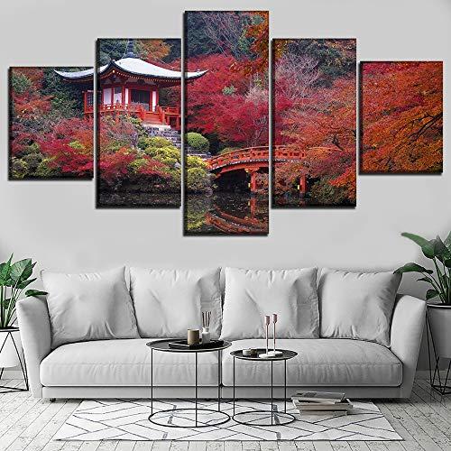 LONLLHB Painting Canvas Wall Art Modular Picture Canvas 5 Pieces Case Japan Garden Bridge Building Painting Room Decor Living Room Modern Hd Print Poster