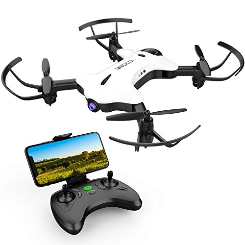 DROCON NINJA FPV Drone with 720P HD Wi-Fi Camera Live Video Feed 2.4GHz 6-Axis Gyro Quadcopter for Kids and Beginners with Altitude Hold, Foldable Arms, One Key Take off/Landing, Color White