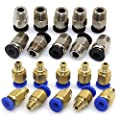 Ivelink PC4-M10 Straight Pneumatic Fitting Push to Connect + PC4-M6 Quick in Fitting for 3D Printer Bowden Extruder (Pack of 20pcs)