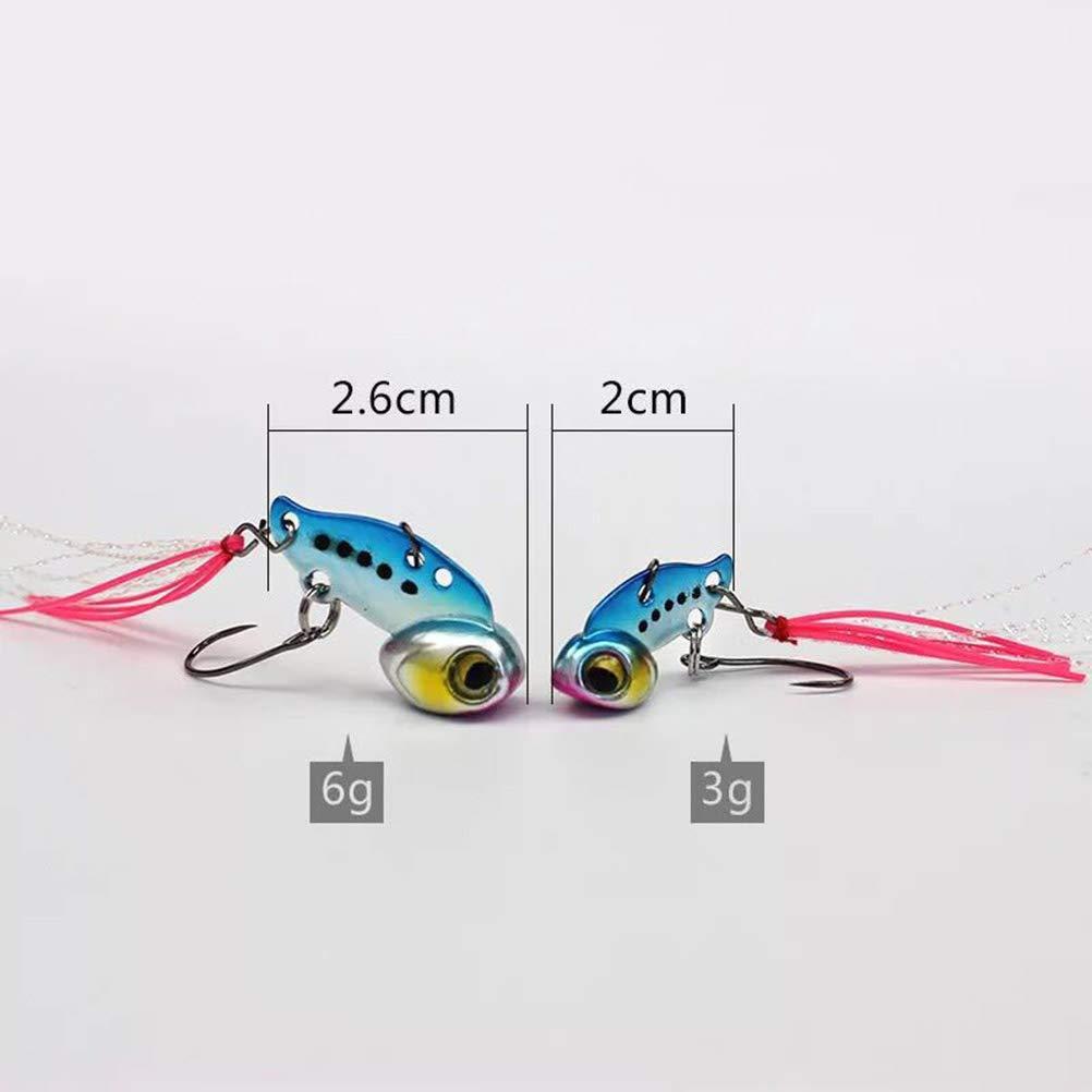 3G, aleatorizaci/ón de Color VORCOOL 3G Mini VIB Se/ñuelos de Pesca con Anzuelo Fish Hook