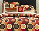 City Scene, Retro Radar Collection, Duvet Set, Red, King