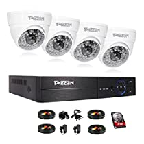 TMEZON 8 Channel AHD 1080P DVR Security Camera System with 4 HD 1080P Outdoor CCTV Dome Cameras Motion Detection & Alarm Push,IP67 Weather-Proof Metal,with 2TB HDD