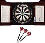 Viper Hudson All-in-One Dart Center: Classic Solid Wood Cabinet & Official Sisal/Bristle Dartboard Bundle: Premium Set (Razorback Dartboard and Darts), Mahogany Finish