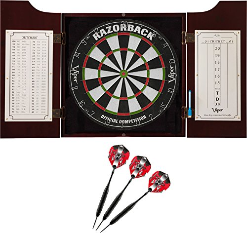 (Viper Hudson All-in-One Dart Center: Classic Solid Wood Cabinet & Official Sisal/Bristle Dartboard Bundle: Premium Set (Razorback Dartboard and Darts), Mahogany Finish)