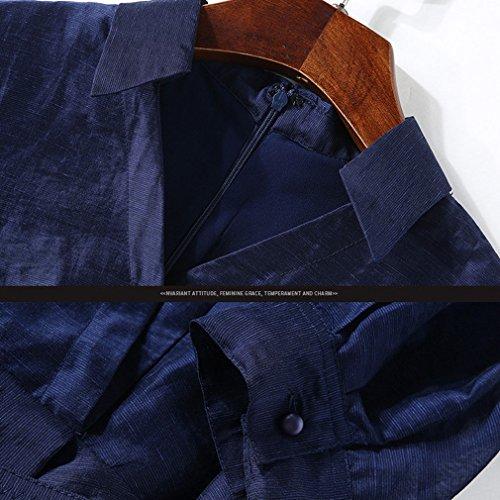 付与騒々しい土曜日Honghu レディース カジュアル 半袖 シャツの襟 プリーツ ドレス l ネイビー ブルー