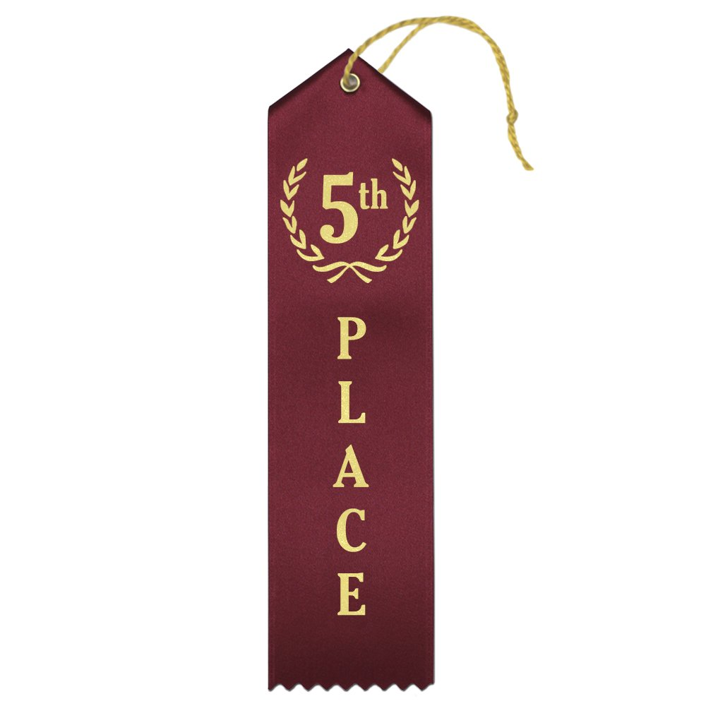 5th Place (マルーン)プレミアムAward Ribbons withカード&文字列 – 25カウントメタリックゴールド箔印刷 – Made in the USA B072JL8CJR