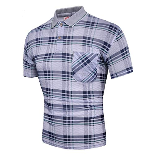 (Dry fit Polo Shirts for Men Short Sleeve Regular Fit Striped Polo Shirt with Pocket Mens Casual Summer 2019)