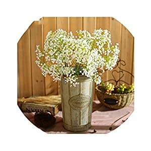 Lucky-fairy Artificial Flowers Wedding Decorative Flowers Artificial 5Pc Baby Breath Flower Bridal Bouquet Flowers Home Party Decor 117