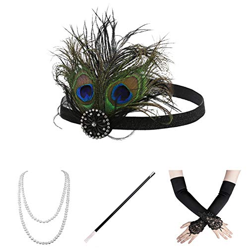 Roaring Twenties Attire (Xuhan 1920s Accessories Set for Women Headband Necklace Gloves Cigarette Holder)