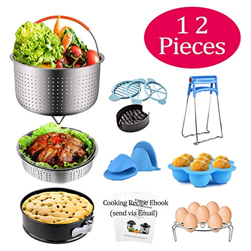 (QUERLY Instant Pot Accessories for 6 & 8 Quart, 12 pcs Pressure Cooker Accessories Set, with Steamer Basket, Springform Cake Pan, Silicone Egg Bites Mold, Egg Rack Trivet, Mini Mits and more )