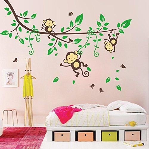 WDA Cheeky Monkey Hanging on Tree Branches Monkey Wall Sticker Nursery Wall Decal ()