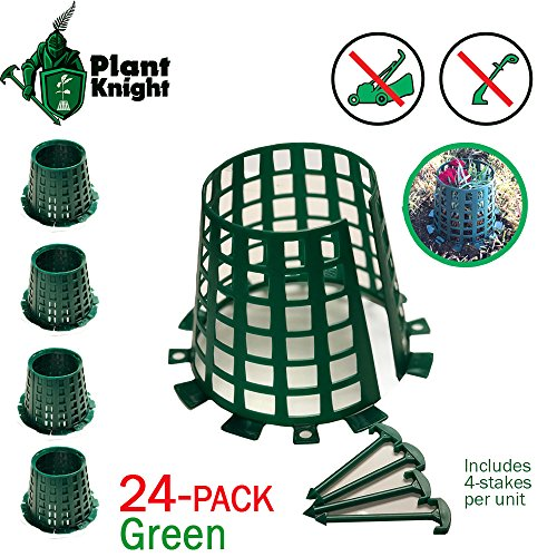 (Plant and tree guard and protector for trees, plants, saplings, landscape lights, lamp posts, etc; expandable for larger trees and plants; protection from trimmers, weed whackers (Green 24-pack))