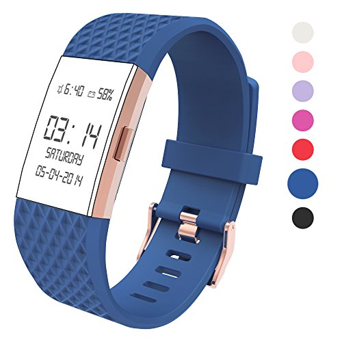 Wearlizer Compatible Fitbit Charge 2 Bands Accessories Silicone Strap Replacement Fitbit Charge 2 Special Edition Lavender Rose Gold Buckle