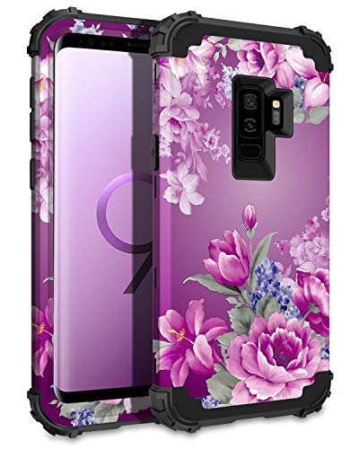 Lontect Compatible Galaxy S9 Plus Case Floral 3 in 1 Heavy Duty Hybrid Sturdy Armor High Impact Shockproof Protective Cover Case for Samsung Galaxy S9 Plus - Black/Purple Flower