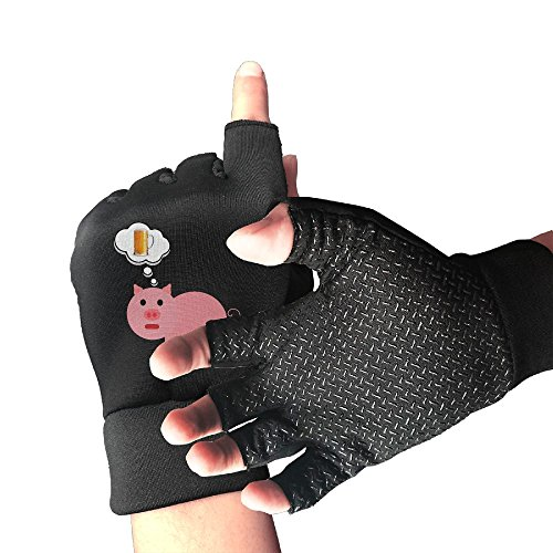 HZZK OUTDOOR Pig Dreaming Of Beer Unisex Exercise Cycling Shockproof Half Finger Non-slip Gloves Outdoor Sports Fitness Bike Gloves by HZZK OUTDOOR