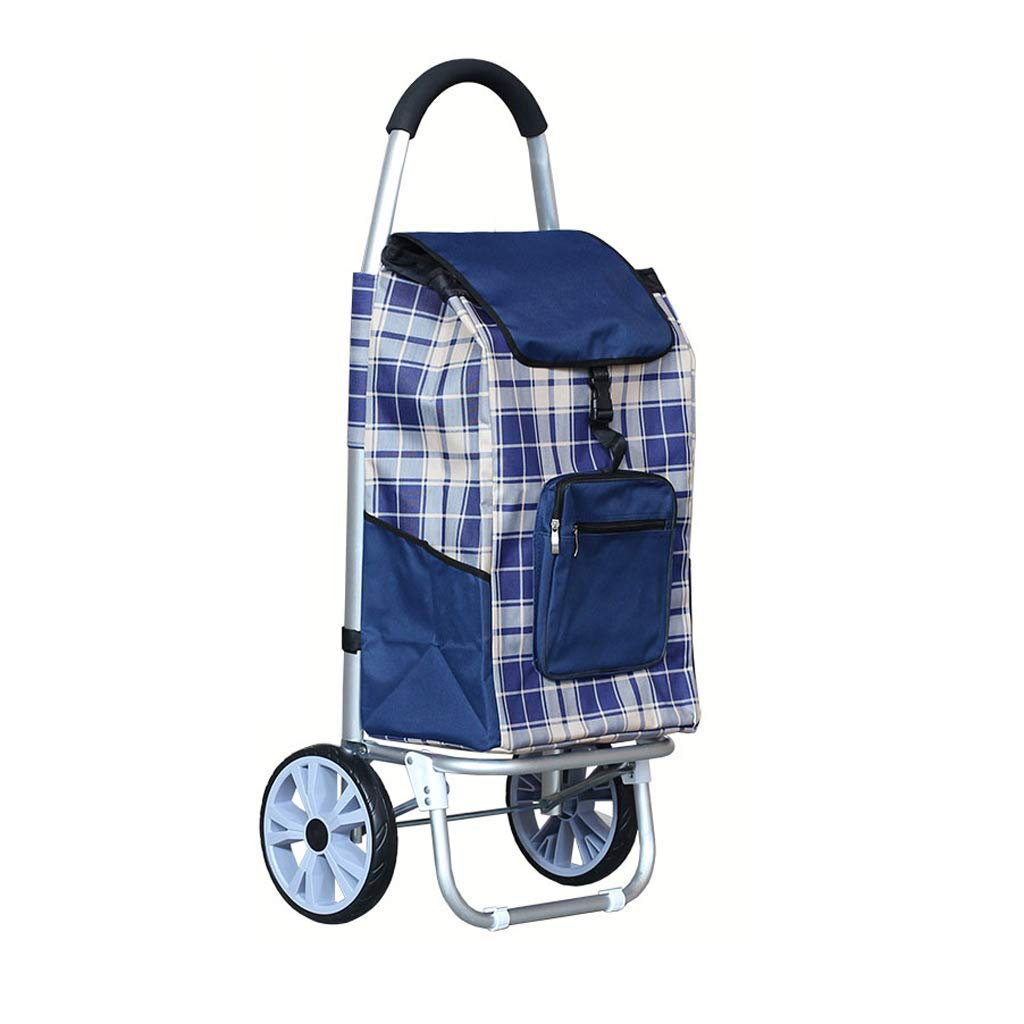 Vvlo Fashion Large Reinforced Aluminum Folding Portable Trolley car Waterproof Cloth (Color : Blue)